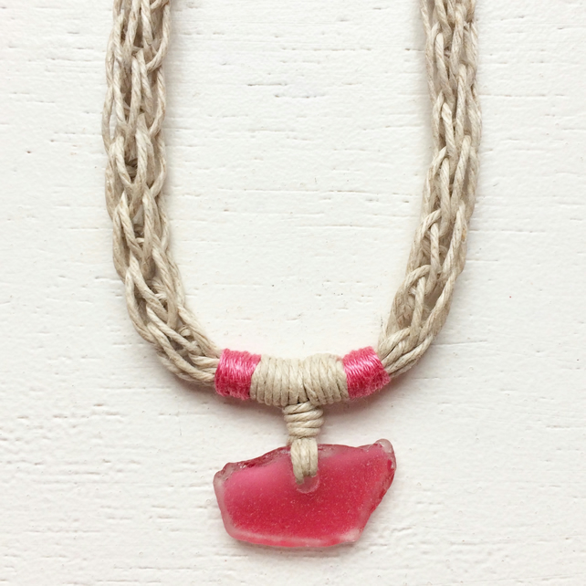 Fuchsia pink rare sea glass and hemp rope necklace