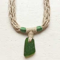 Forest green sea glass and beach rope necklace