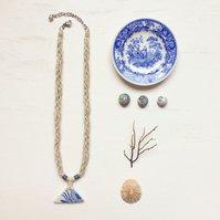 Floral triangle sea pottery and hemp rope necklace