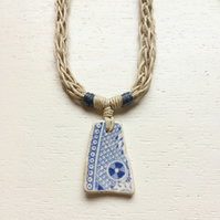 Willow patterned sea pottery and beach rope necklace