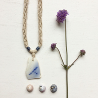 The Hofburg Flow Blue ceramic sea pottery and hemp necklace