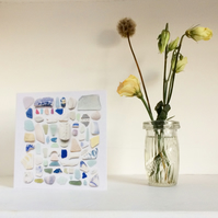 Card No2 Cornwall beach finds sea glass greetings card