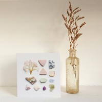 Card No:5 beach finds sea glass from Lyme Regis greetings card