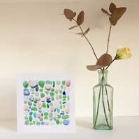 Card No3 sicily beach finds sea glass greetings card