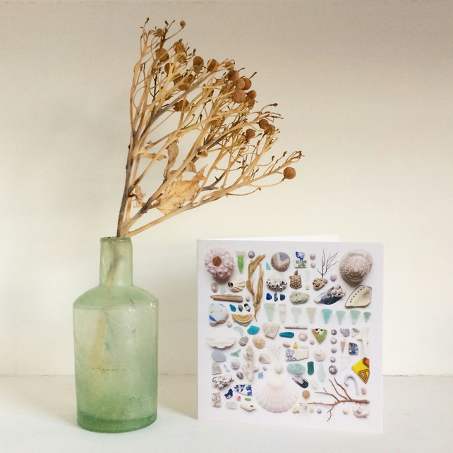 Card No4 sea glass beach finds greetings card