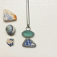 Art deco ceramic triangle and turquoise sea glass necklace