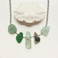 5 stone sea glass and pottery organic blues necklace
