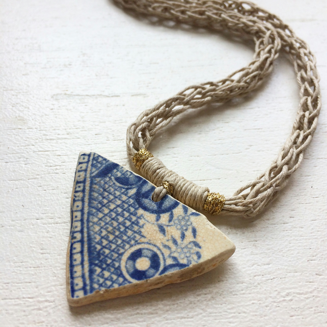Willow Triangle sea pottery and hemp necklace