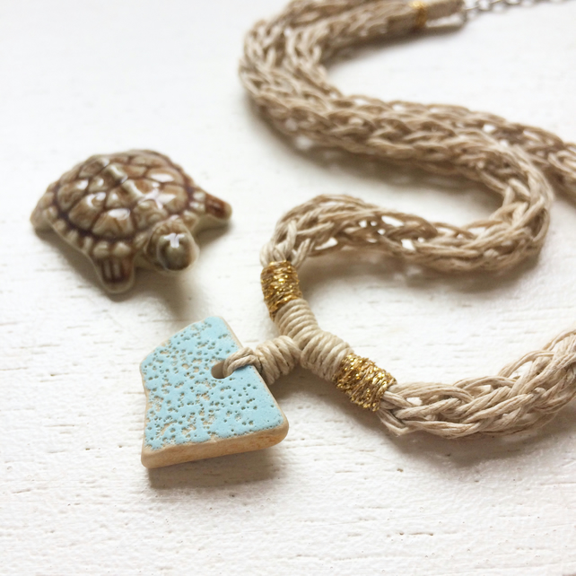 Dimpled sky blue sea pottery and hemp necklace