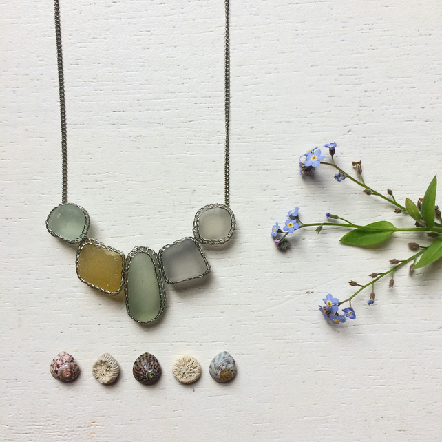 Lilac, butterscotch and aquamarine sea glass necklace