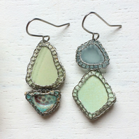 Duck egg blue and crimson sea glass and pottery earrings