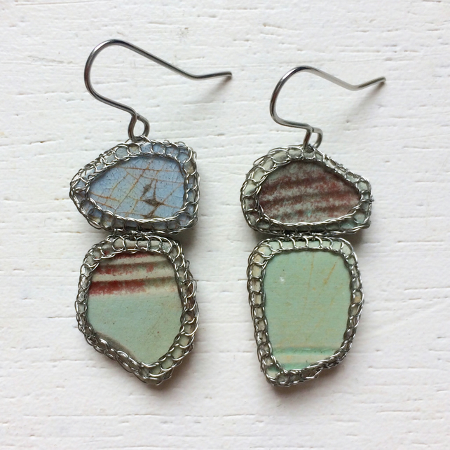 Duck egg blue and crimson sea pottery earrings