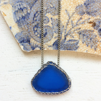 Inky cobalt blue sea glass necklace