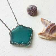 Dark Turquoise sea glass necklace