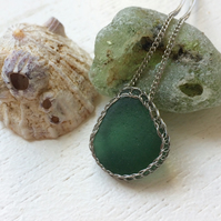 Bottle green sea glass necklace