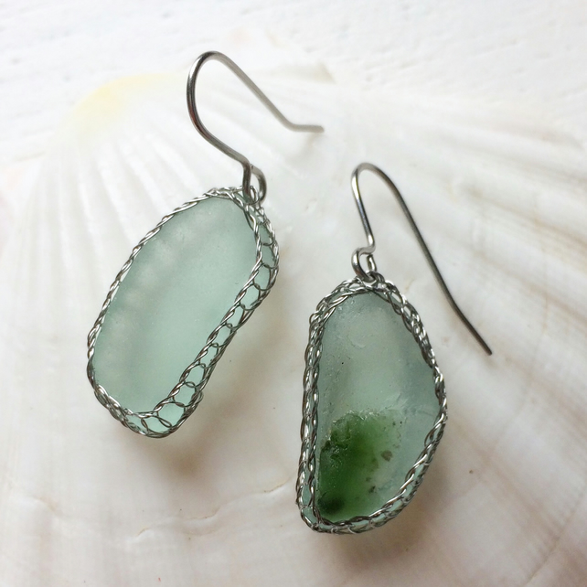 Aquamarine and emerald sea glass earrings