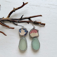 Floral China sea pottery and sea glass earrings