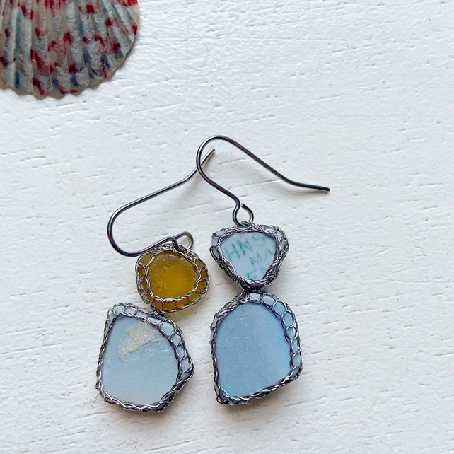 Chalky Blues sea glass and sea pottery earrings