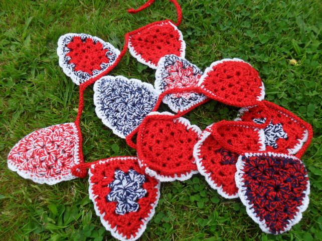 Bunting - Crochet - red, white and blue