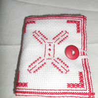 Sewing Needle Case Red Cross stitch