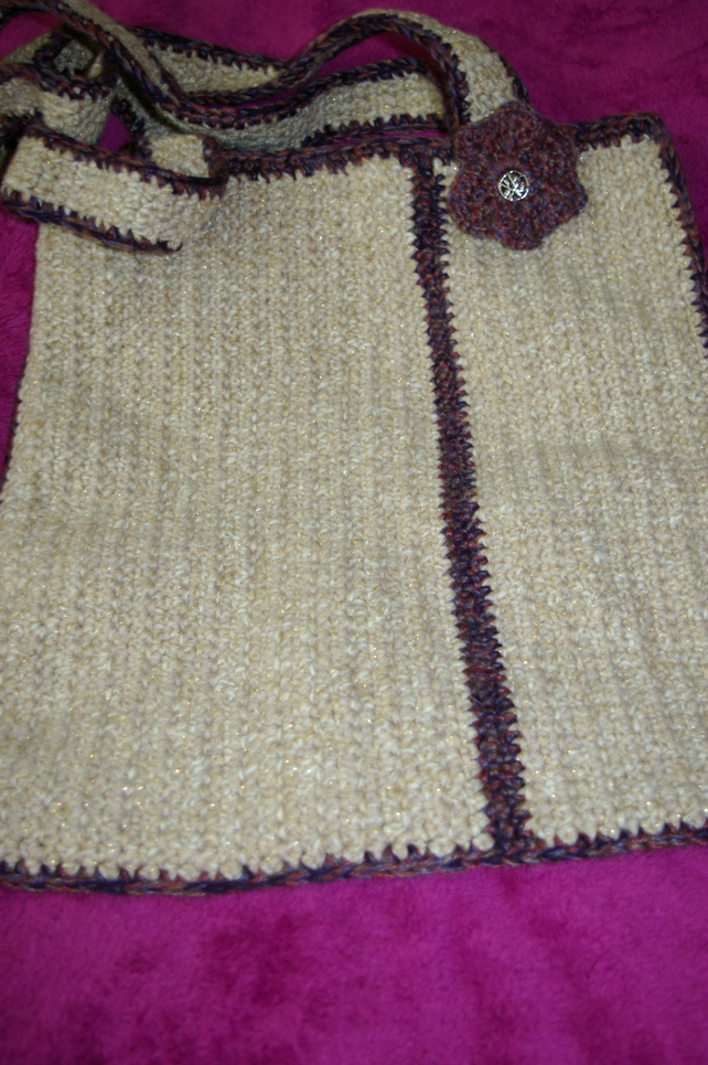 Bag crochet tote style crochet bag in Beige and gold fleck with purple