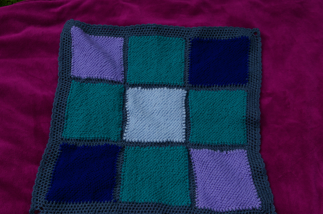 Blue and Green Knitted Patchwork Small Blanket