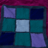 Blanket - Blue and Green Knitted Patchwork Small Blanket