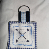 Keyring - Cross Stitched in Blues