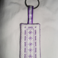 Keyring - Cross Stitched in Purple