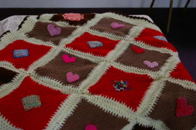 Blanket Throw Hand Knitted Patchwork And Applique Folksy