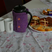 Cafetiere Cosy Hand Knitted in Purple