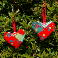 Patchwork scented christmas heart decorations