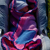 Baby Blanket in pinks and blues