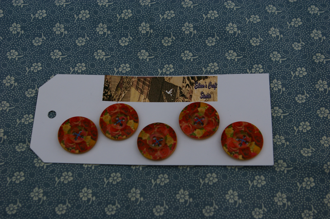 Buttons wooden 25mm set of 5 red