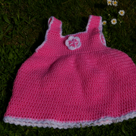 Baby Sundress Crochet Pink and White