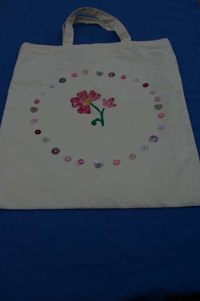 Tote Bag Pink Flower and Buttons