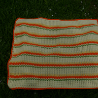 Baby Blanket Crochet in Orange, Yellow's and Green