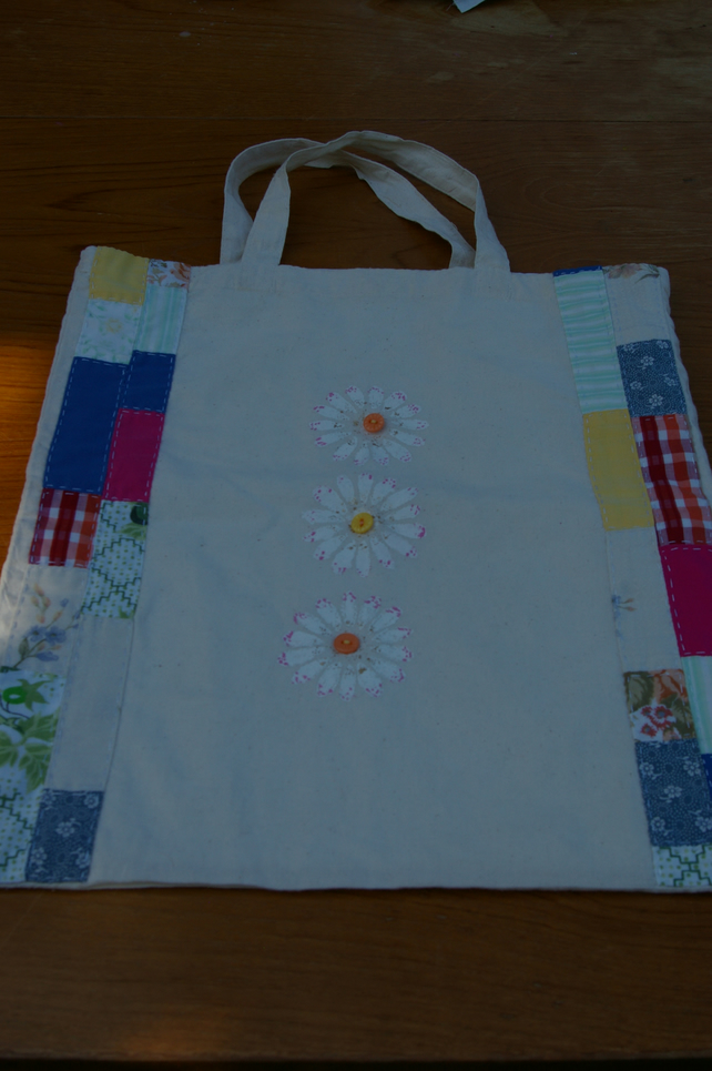 Bag Daisy and Patchwork Tote Bag
