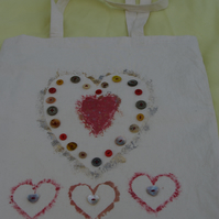 Bag Tote Hearts and Buttons Design