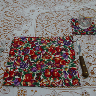 Place Mats and Coasters set of 4 Butterfly and Plums