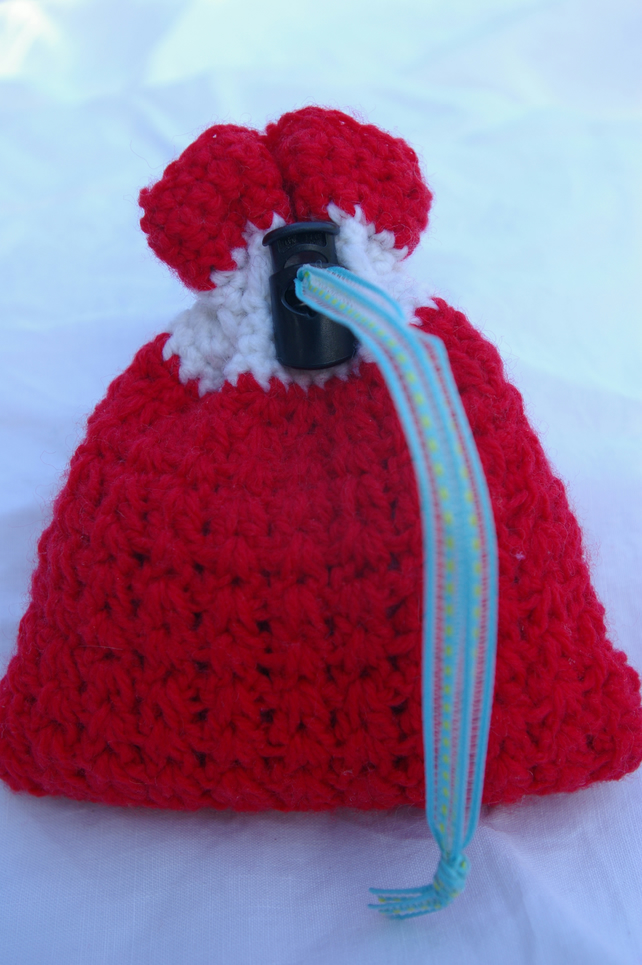 Gift Bag Red and White Crochet