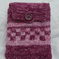 Kindle Case Hand Knitted Fair Isle Style Maroon and Pink