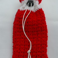 Bag Red Crochet Christmas Gift Bag