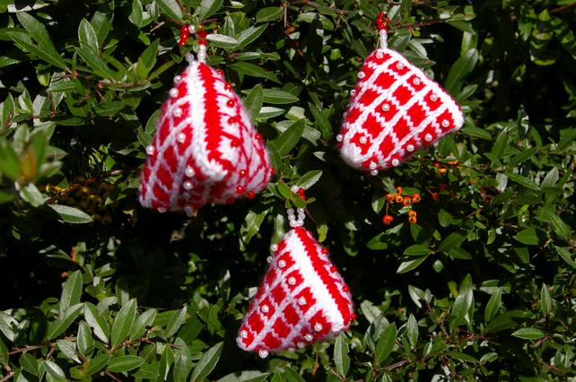 Christmas knitted humbug Decorations a set of three