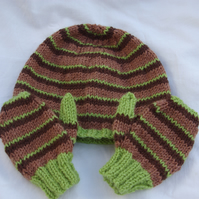 Toddler Striped Hat and Mittens Set or Combination