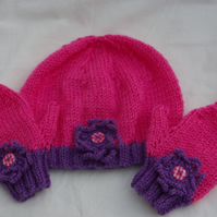 Hat and Mittens in Pink and Purple for Toddler