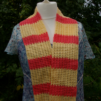 Striped Scarf crocheted in peach and yellow