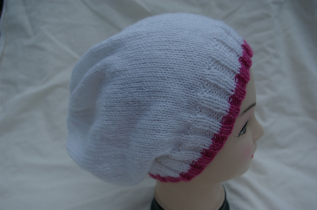 Slouch Beanie Hat in White with a Dusty Pink border