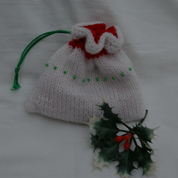 Christmas Gift Bag Hand Knitted in White with a Red Stripe