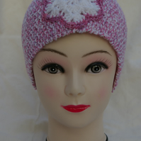 Ear Warmer Headband hand knitted with crochet Snowflake